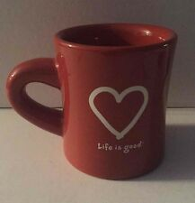 Life Is Good Rust Heart Coffee Mug Ceramic Tea Cup Like What You Do Affirmation