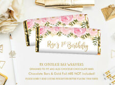 8x Blush Pink Floral Chocolate Bar Wrappers Faux Gold Party Favours PERSONALISED