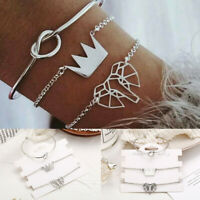 Fashion 3Pcs/Set Women Silver Crown Knot Elephant Bangle Chain Bracelets Jewelry