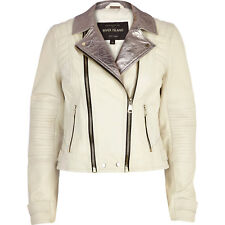 River Island White Metallic Lapel Leather Biker Jacket 100% Leather - Size 10