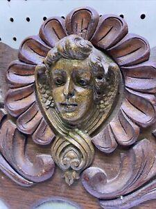 "Vintage Ornate Carved Wood Head w/ Scrolling Pediment 29.5""W x 10""T Salvage"