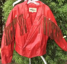 Vintage Wilsons Red Leather Fringe Motorcycle Western Jacket Coat Women's Sz XL