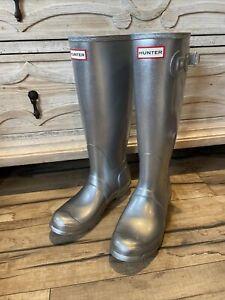 Hunter Silver Cosmic Glitter Galaxy Tall Rubber Rain Boots Size 7 New