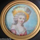 Cadre Miniature femme au chapeau style Napoleon III