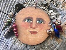 Folk Art Primitive Christmas Ornament Moon Man Hand Painted Oil Wood Signed