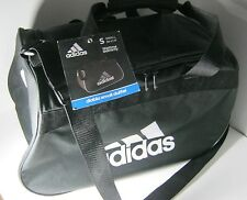 "New Adidas Diablo Small Duffel Gym Bag Black Travel Camp 18.5""x 11"" x 10"""