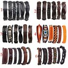 6pcs/set Mens Jewelry Punk Leather Wrap Braided Wristband Bracelet Bangle New