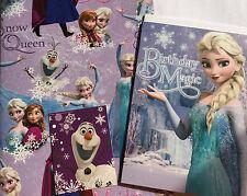 DISNEY congelato Elsa Anna Neve Regina carta da pacco regalo Wrap cartolina Di Compleanno Confezione