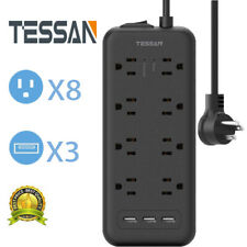 8 Outlet & 3 USB Surge Protector Power Strip With Flat Plug For Home Appliance.