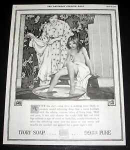 1918 OLD MAGAZINE PRINT AD, IVORY SOAP, PROMOTE SOUND REFRESHING SLEEP, ART!