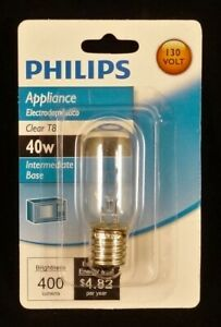 Philips 40W Appliance Incandescent Clear T8 Intermediate Base Light Bulb, New
