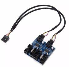 Cabezal USB 9Pin placa madre 1 a 4 Multiplicador De Puertos Divisor 30cm Cable de extensión