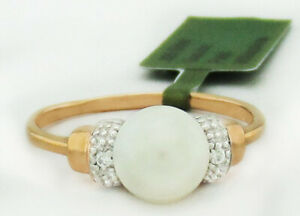 GENUINE 7 mm PEARL & WHITE SAPPHIRES RING 925 Silver (Rose)  * NWT * Size 7