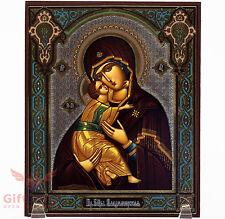 "Wooden Icon Virgin Mary Theotokos of Vladimir Владимирская Икона Б.М 5.1"" x 6.2"""