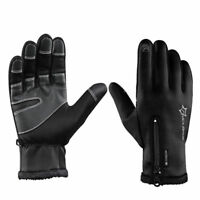 ROCKBROS Cycling Fleece Thermal Windproof Touch Screen Full Finger Gloves Black