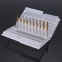 10 x 1/8'' 0.8-3.175mm PCB Drill Bit Set Engraving Cutter Rotary CNC End Mill