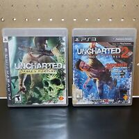 2 Game Lot-Uncharted 1&2 PS3 Playstation 3 Complete & Tested - Free Ship