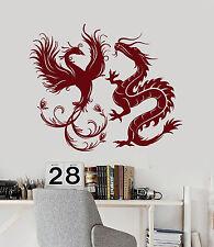 Vinyl Wall Decal Dragon Phoenix Bird Fantasy Asian Style Stickers Mural (ig4887)