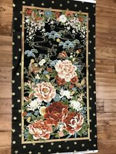 Beautiful Peony & Butterfly floral quilters cotton Fabric Panel 24 x 44