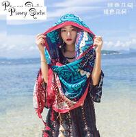 summer beach travel scarf shawl women Tassel Printing Large Flow Sunscreen Retro