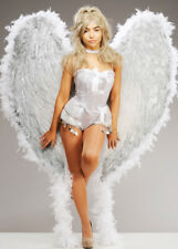 Deluxe Extra Large White and Silver Feather Angel Wings