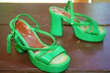 Vtg 70s Platform High Heel Strappy Sandals Leather  8 Inches