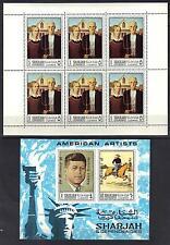 UAE SHARJAH US 1968 AMERICAN ARTISTS SIX COMPLETE SETS IN SHEETLETS + OVPTD SOUV
