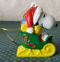 Peanuts Snoopy And Woodstock In A Sleigh Christmas Ornament