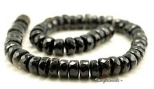 """14X7MM  SMOKY QUARTZ GEMSTONE FACETED RONDELLE LOOSE BEADS 7.5"""""""