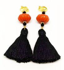 Handmade Boho Black Tassel Clip On Earrings Orange Pumpkin Bead Earrings