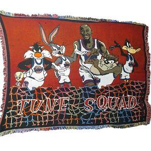 Vintage Space Jam Tune Squad Throw Blanket Original Michael Jordan Looney Tunes