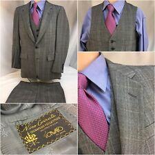Nino Cerruti Bespoke Suit 3pc 40R Gray 2b 1v 35x29 Flat Front 40 R Mint YGI 9767