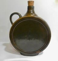 Large OLD Arts and Crafts  Round Stoneware Jug Flask Decanter - Brown Glaze