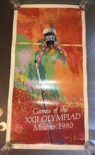 "Original XXII OLYMPICS Moscow 1980 LEROY NEIMAN Signed Pole Vault Poster 20""x39"""