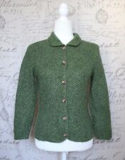Green Angora Rabbit Hair Lambswool Blend Button Cardigan Sweater Small