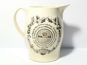 "c1800 Liverpool Masonic Creamware Jug Virtuous Woman & Happy the Man 7"" a/f READ"