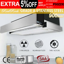 ReelRock Rangehood Range Hood Stainless Steel Kitchen Canopy 90cm 900mm