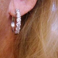 2.00 CTW GORGEOUS NATURAL DIAMOND HOOP EARRINGS 14K WHITE GOLD