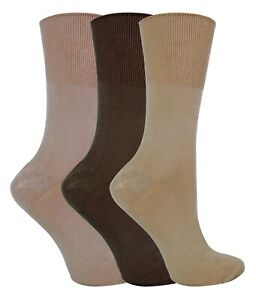 3 Pairs Womens Thin Loose Wide Top Breathable Non Binding Bamboo Dress Socks