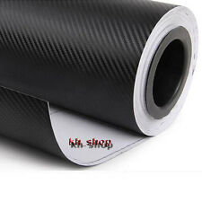 "12""x60"" Carbon Fiber Vinyl Car Wrap Sheet Roll Film 3D Patterned Sticker Black"