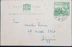1944 Malta 1d green post card, Birkirkara cancel, KGVI used, POSTAL STATIONERY