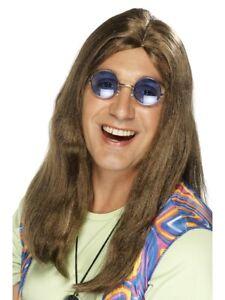 Hippie Wig Brown Long Adult Neil 60s Groovy Fancy Dress Accessory