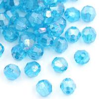 500 Seeblau Klar Acryl Schliffperlen Facettiert Beads Bicone 6x6mm hello-jewelry