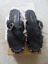 NIB Women's PRADA Black Crisscross Buckle Espadrille Slide Sandals Zs 39, US 9 M