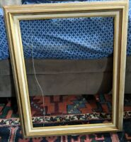 LARGE VTG GOLD CARVED WOOD PICTURE FRAME MCM VTG 20x16 OPENING MEXICO RETRO
