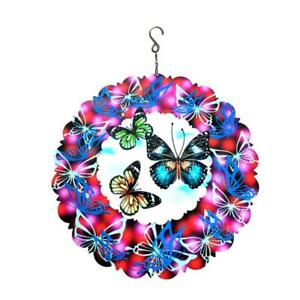 Butterfly Wind Spinner 3D Metal Sculptures Kinetic Hanging Whirligig Windmill