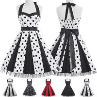 RED BLACK Vintage Party prom 50s Retro Swing Pin up Dresses Plus Size
