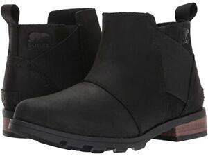 Sorel Emelie Chelsea Women`s Black Noir Ankle Boot NW/OB