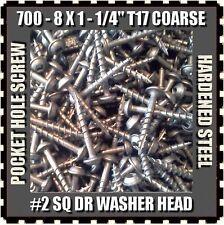 "700 #8x1-1/4"" T17 SQ DRI-LUBE WASHERHEAD POCKET HOLE SCREWS KREG JIG COMPATIBLE"
