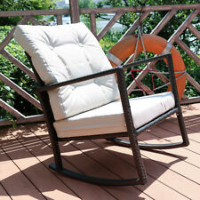 Rocking Wicker Chair Rattan Furniture Balcony Patio Garden Decor With Cushions